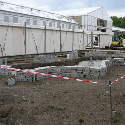 Basic shape of the pond at the Ian Barker Gardens site at the RHS Chelsea Flower Show 2011.