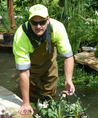 Jarrod in the pond of 'The Endeavour Garden' designed by Ian Barker Gardens at the 2011 Chelsea Flower Show in London.