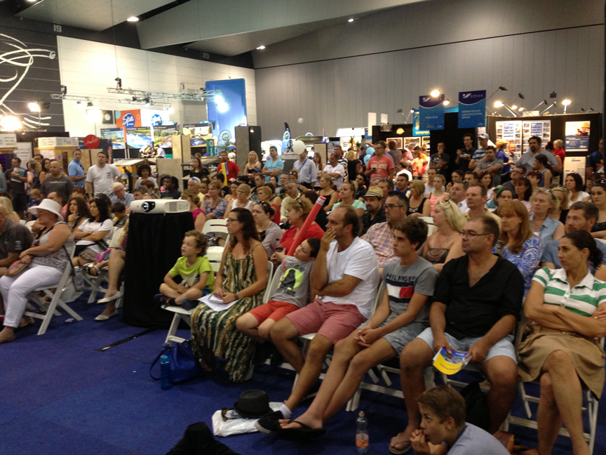 "The crowd at Ian Barker's presentation at the 2014 SPASA Show on Pool & Garden Design, ""Why Some Just Work"", featuring the top tips for positioning a swimming pool in your garden."