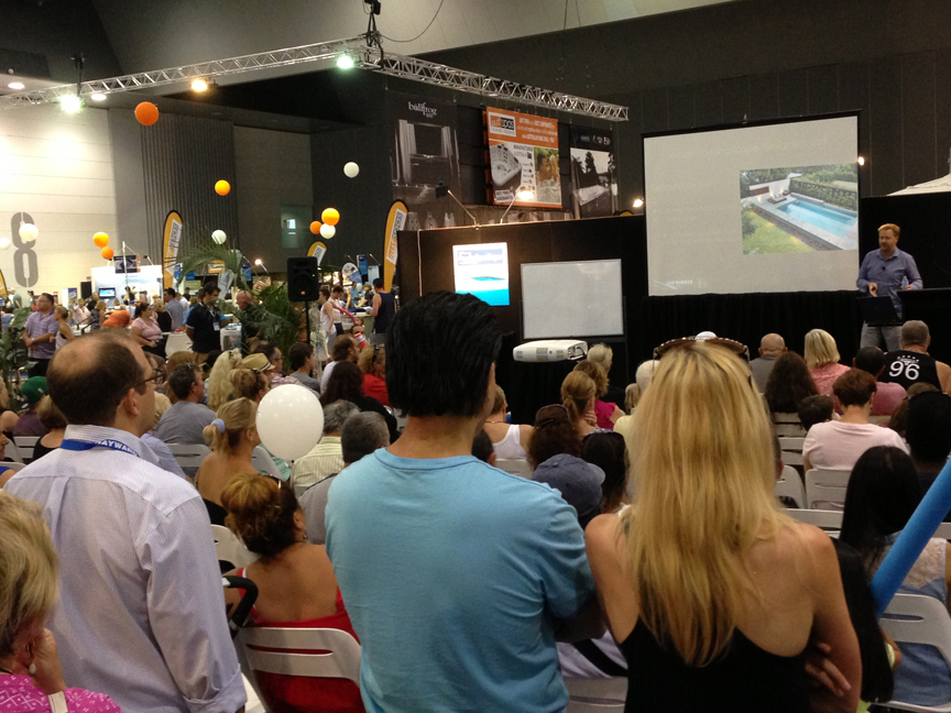 "Ian Barker giving his presentation at the 2014 SPASA Show on Pool & Garden Design, ""Why Some Just Work"", featuring the top tips for positioning a swimming pool in your garden."