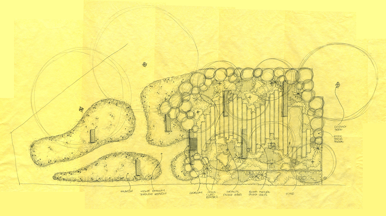 Flower garden sketch - Ian Barker Garden Design Plan For 2015 Melbourne International Flower Garden Show Entry Cross Roads