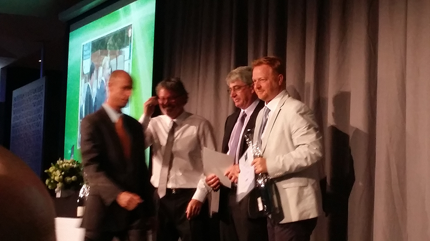 Ian Barker accepting his merit award at the 2015 Landscaping Victoria Awards at Zinc, Federation Square in Melbourne