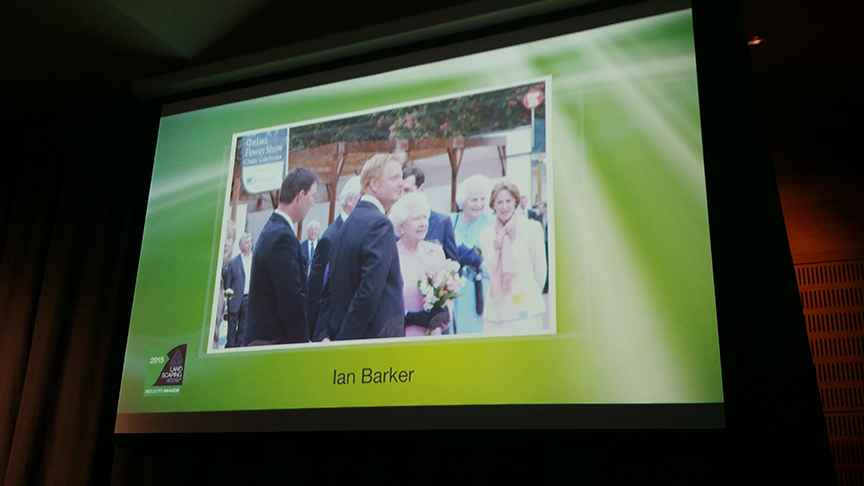 Photo of Ian Barker meeting Her Majesty Queen Elizabeth II during his presentation of a merit award at the 2015 Landscaping Victoria awards