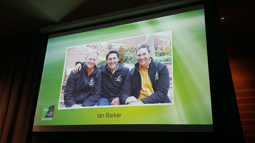 Photo of Ian Barker with Scott Tymkin and Jamie Durie at Chelsea during his presentation of a merit award at the 2015 Landscaping Victoria awards