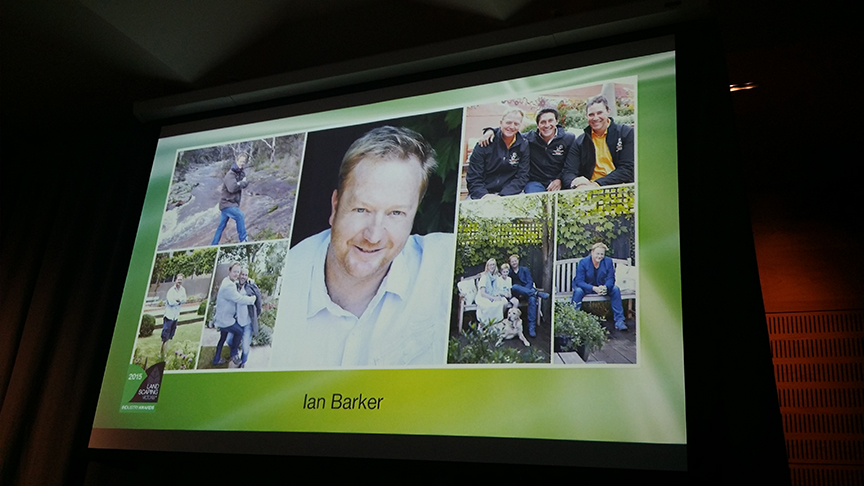 Photo slideshow of Ian Barker at the 2015 Landscaping Victoria Awards