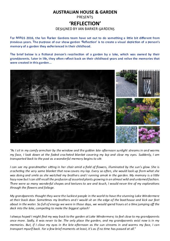 Design Brief for Melbourne landscape design company Ian Barker Gardens' 2016 Melbourne International Flower & Garden Show entry 'Reflection'.